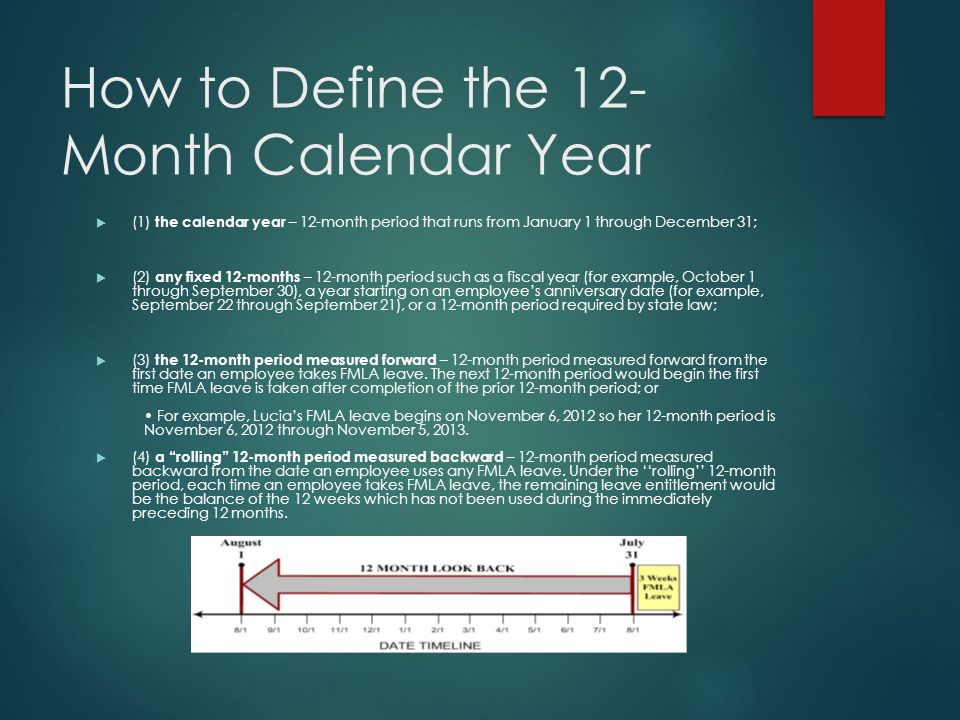 How to Define the 12- Month Calendar Year  (1) the calendar year – 12-month period that runs from January 1 through December 31;  (2) any fixed 12-m