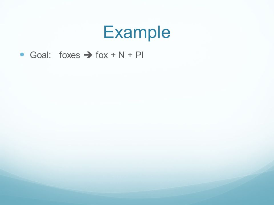 Example Goal: foxes  fox + N + Pl