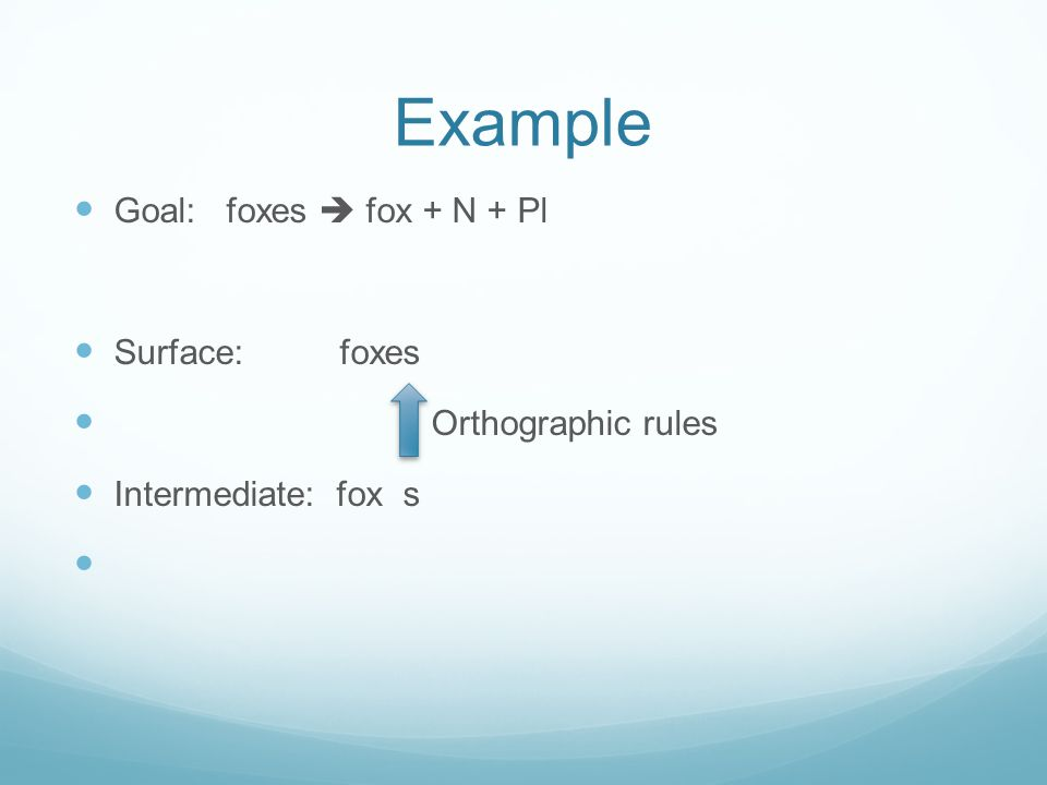 Example Goal: foxes  fox + N + Pl Surface: foxes Orthographic rules Intermediate: fox s