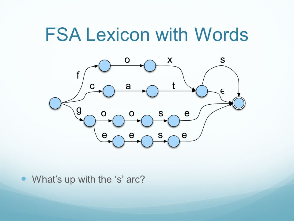 FSA Lexicon with Words What's up with the 's' arc?