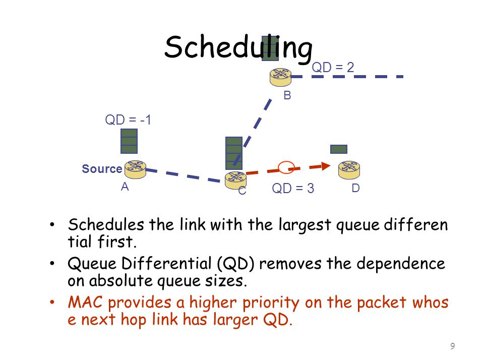10 A C D B backpressure source Backpressure and source rat e control Upstream gets backpressure because its transmission gets l ower priority and thus, its queue builds up.
