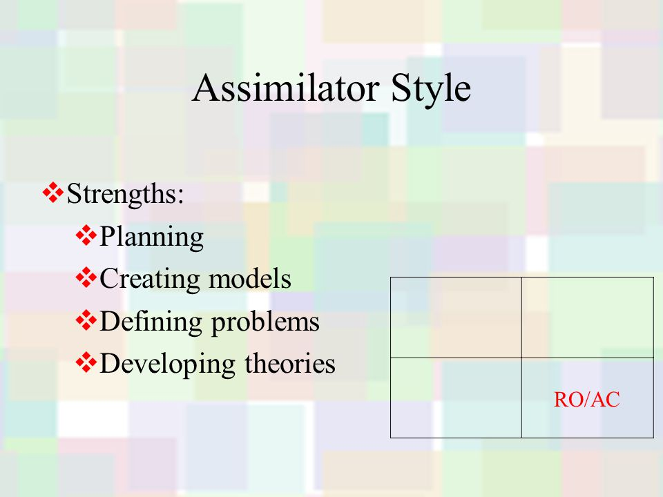 Assimilator Style  Strengths:  Planning  Creating models  Defining problems  Developing theories RO/AC