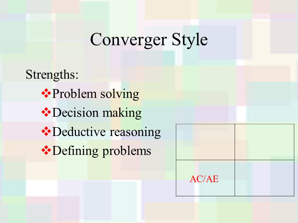 Converger Style Strengths:  Problem solving  Decision making  Deductive reasoning  Defining problems AC/AE