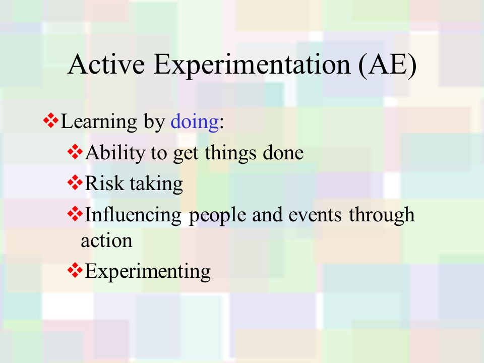 Active Experimentation (AE)  Learning by doing:  Ability to get things done  Risk taking  Influencing people and events through action  Experimenting