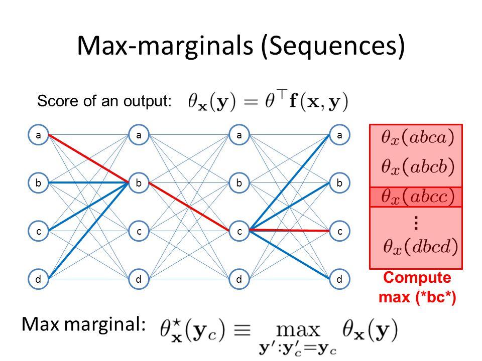 Max-marginals (Sequences) a b c d a b c d a b c d a b c d Score of an output: Compute max (*bc*) Max marginal: