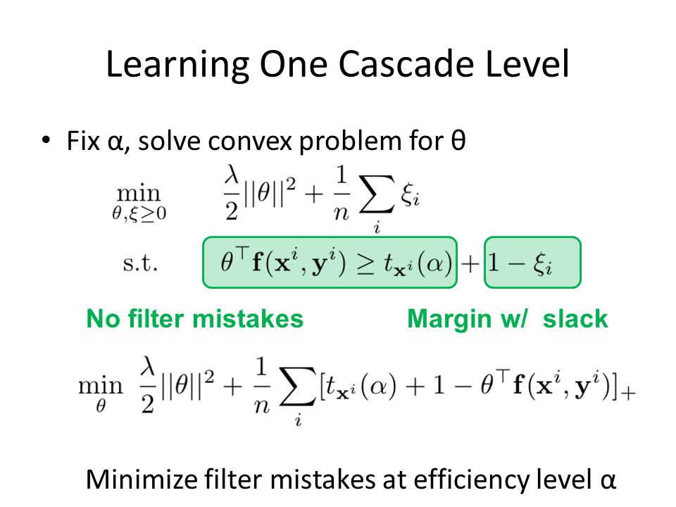 Learning One Cascade Level Fix α, solve convex problem for θ Minimize filter mistakes at efficiency level α No filter mistakesMargin w/ slack