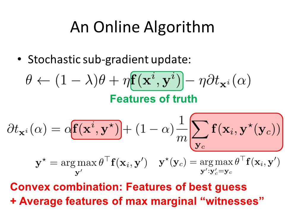 An Online Algorithm Stochastic sub-gradient update: Features of truth Convex combination: Features of best guess + Average features of max marginal witnesses