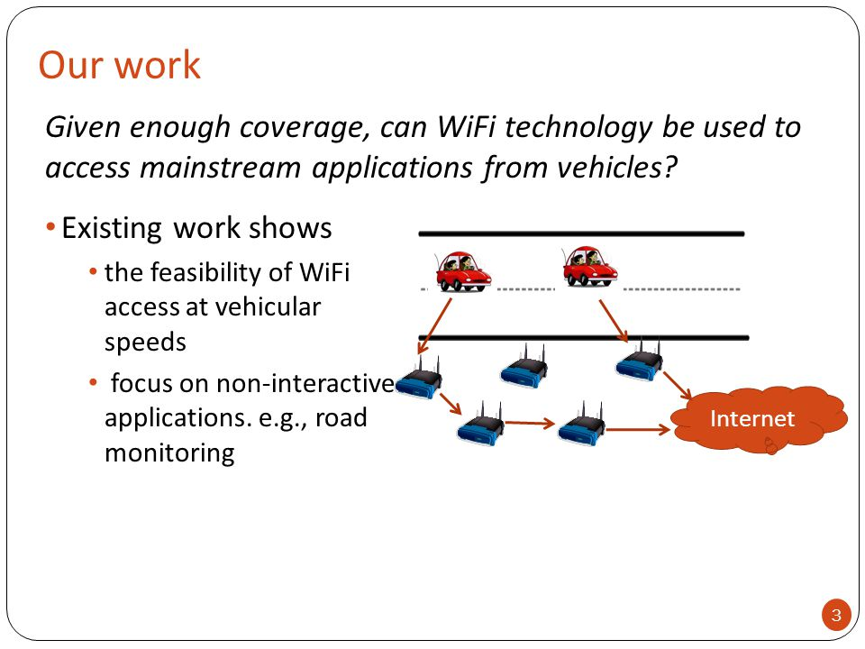 Our work Internet Given enough coverage, can WiFi technology be used to access mainstream applications from vehicles? 3 Existing work shows the feasib
