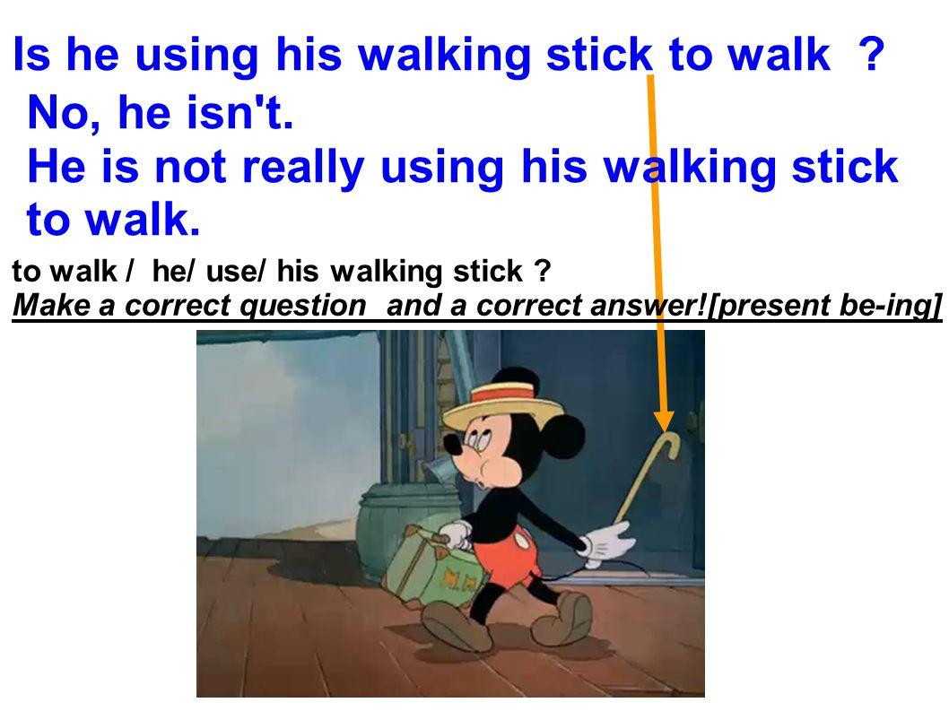 Is he using his walking stick to walk . No, he isn t.