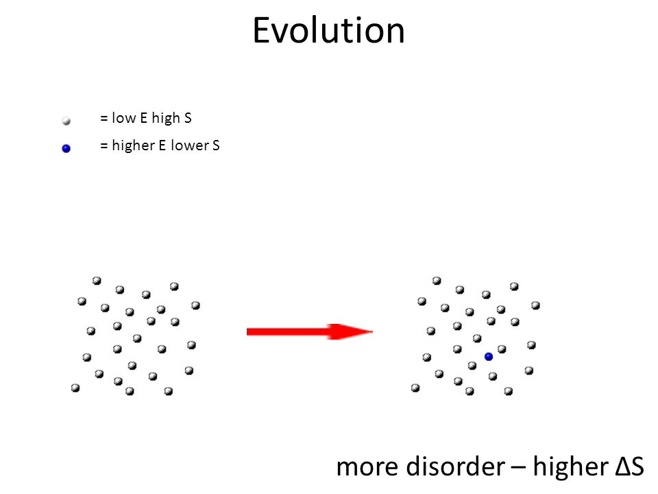 more disorder – higher ΔS = low E high S = higher E lower S Evolution