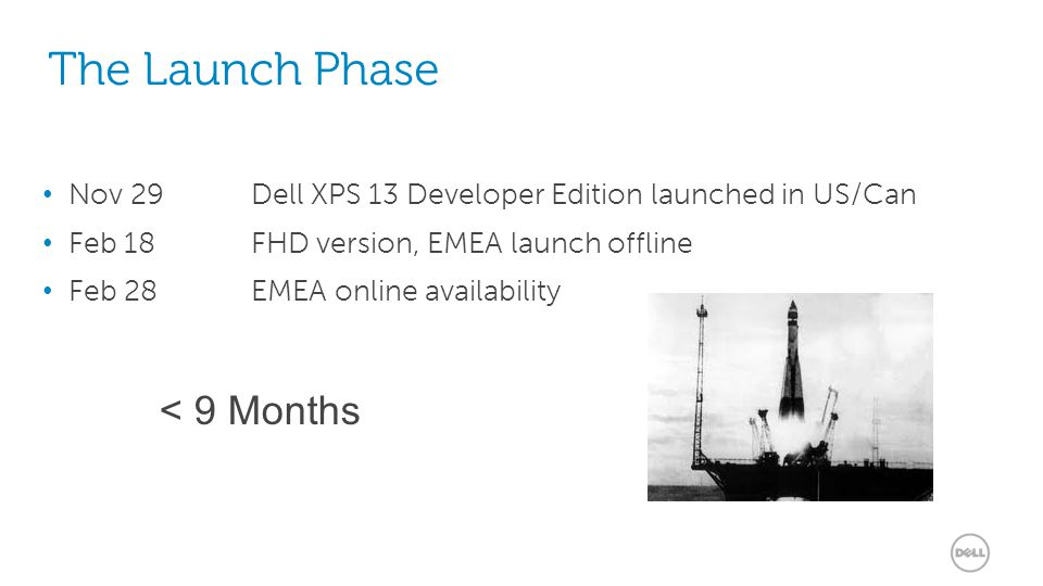 13 The Launch Phase Nov 29 Dell XPS 13 Developer Edition launched in US/Can Feb 18FHD version, EMEA launch offline Feb 28EMEA online availability < 9 Months