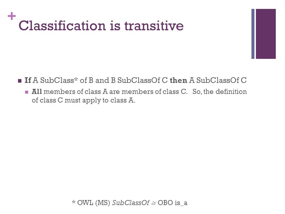 + Classification is transitive If A SubClass* of B and B SubClassOf C then A SubClassOf C All members of class A are members of class C.
