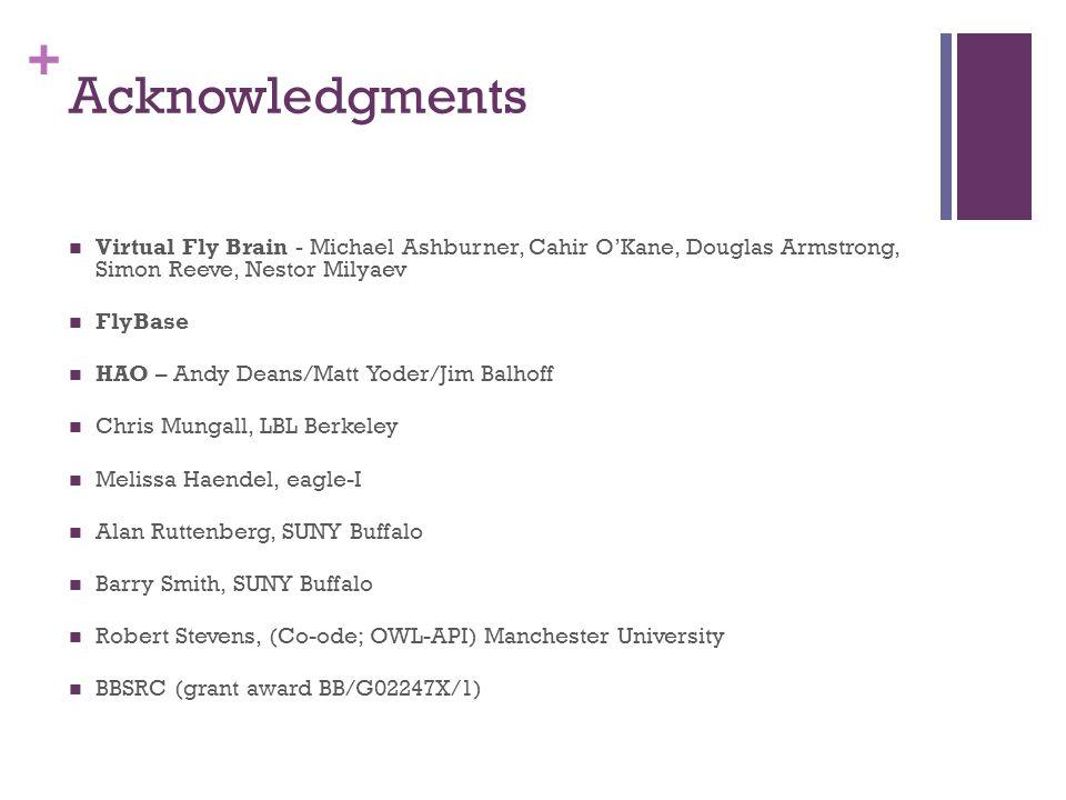 + Acknowledgments Virtual Fly Brain - Michael Ashburner, Cahir O'Kane, Douglas Armstrong, Simon Reeve, Nestor Milyaev FlyBase HAO – Andy Deans/Matt Yo