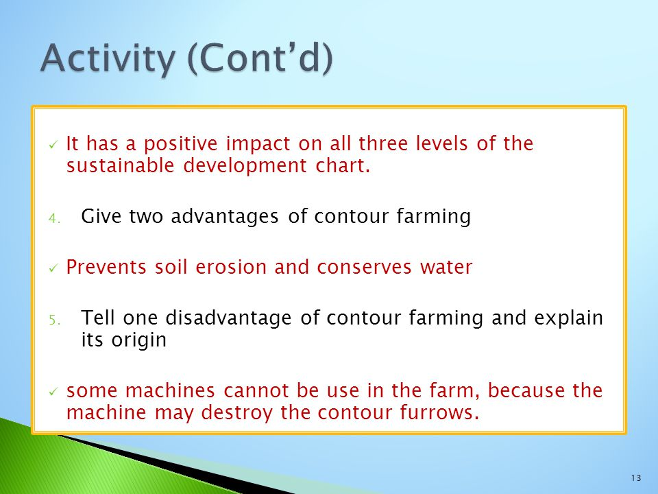 It has a positive impact on all three levels of the sustainable development chart. 4. Give two advantages of contour farming Prevents soil erosion and