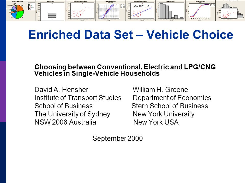 Enriched Data Set – Vehicle Choice Choosing between Conventional, Electric and LPG/CNG Vehicles in Single-Vehicle Households David A. Hensher William