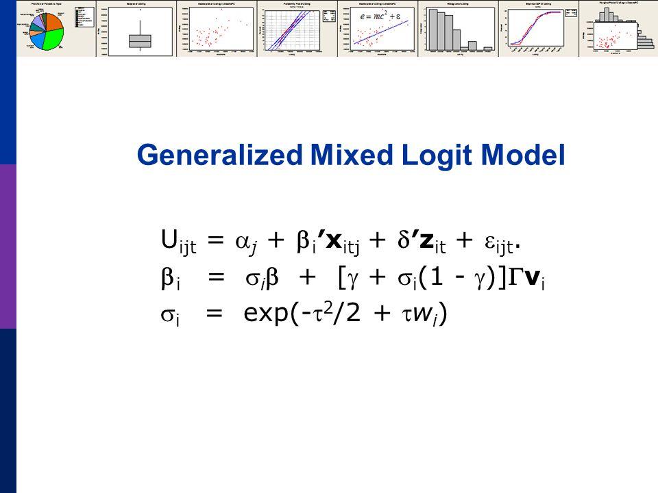 Generalized Mixed Logit Model U ijt =  j +  i ′x itj + ′z it +  ijt.