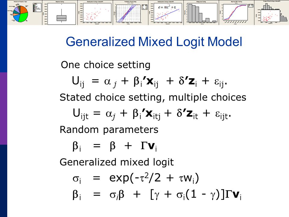 Generalized Mixed Logit Model One choice setting U ij =  j +  i ′x ij + ′z i +  ij.