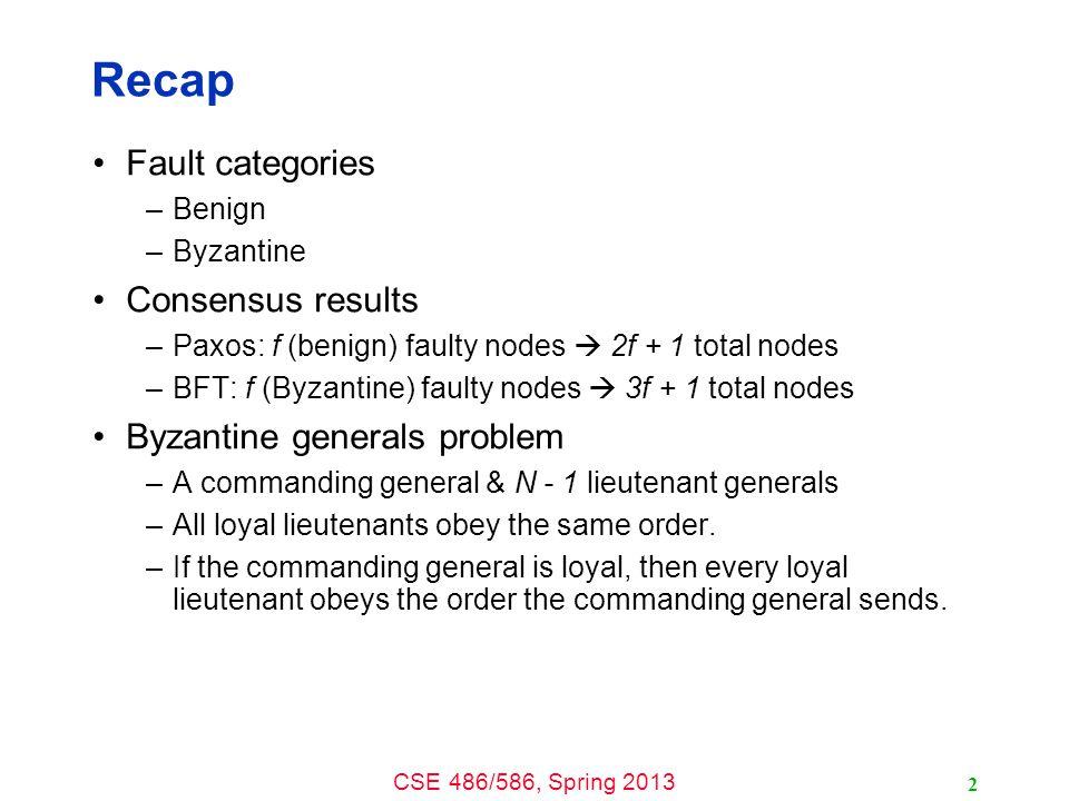 CSE 486/586, Spring 2013 Prepare Phase All replicas exchange PREPARE messages.