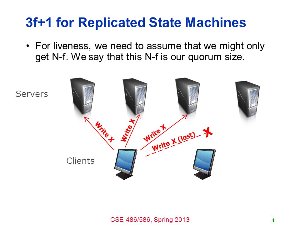 CSE 486/586, Spring 2013 3f+1 for Replicated State Machines For liveness, we need to assume that we might only get N-f.