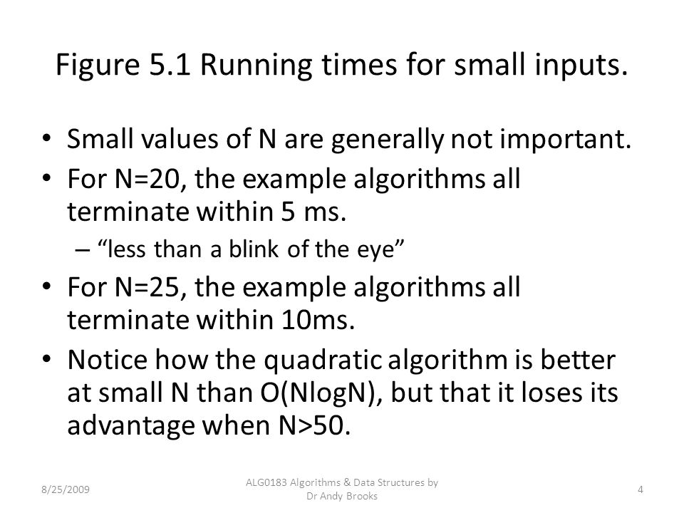 Figure 5.1 Running times for small inputs. Small values of N are generally not important.