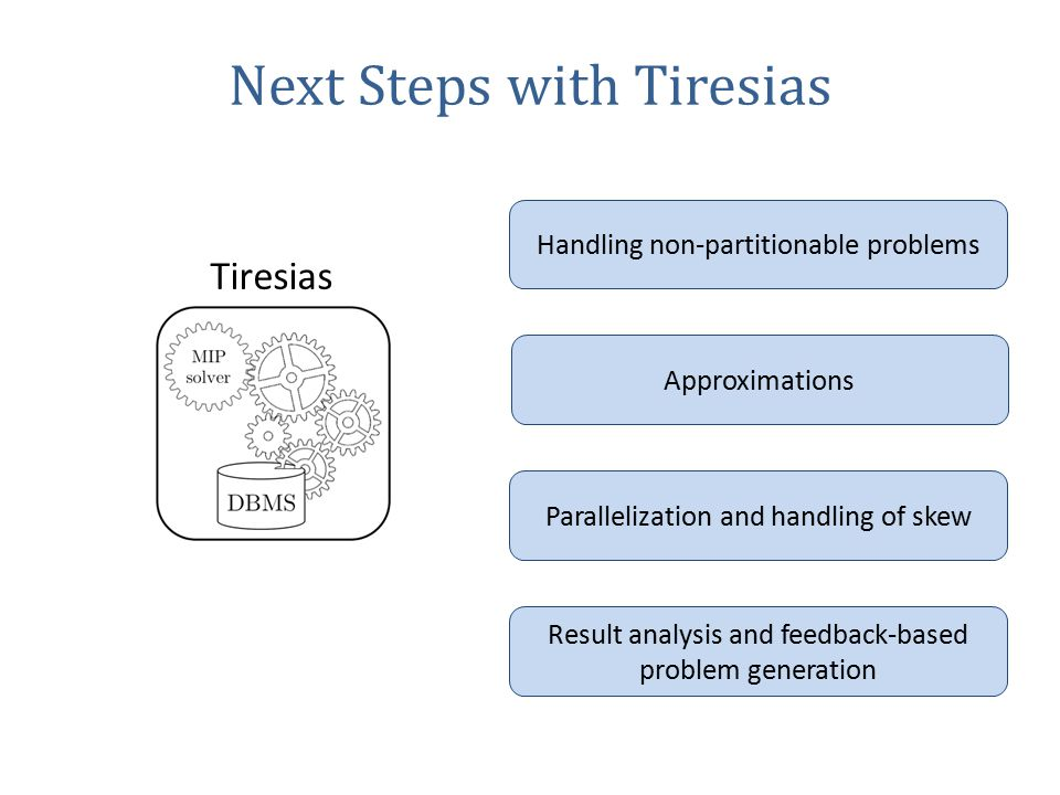 Next Steps with Tiresias Tiresias Handling non-partitionable problems Approximations Parallelization and handling of skew Result analysis and feedback-based problem generation