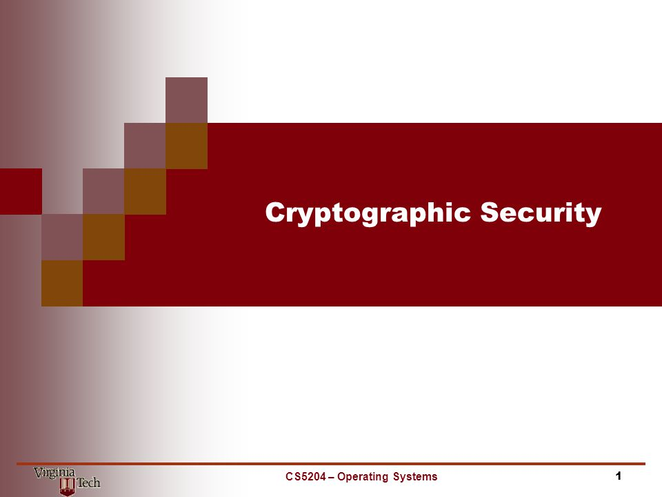 Cryptographic Security CS5204 – Operating Systems1
