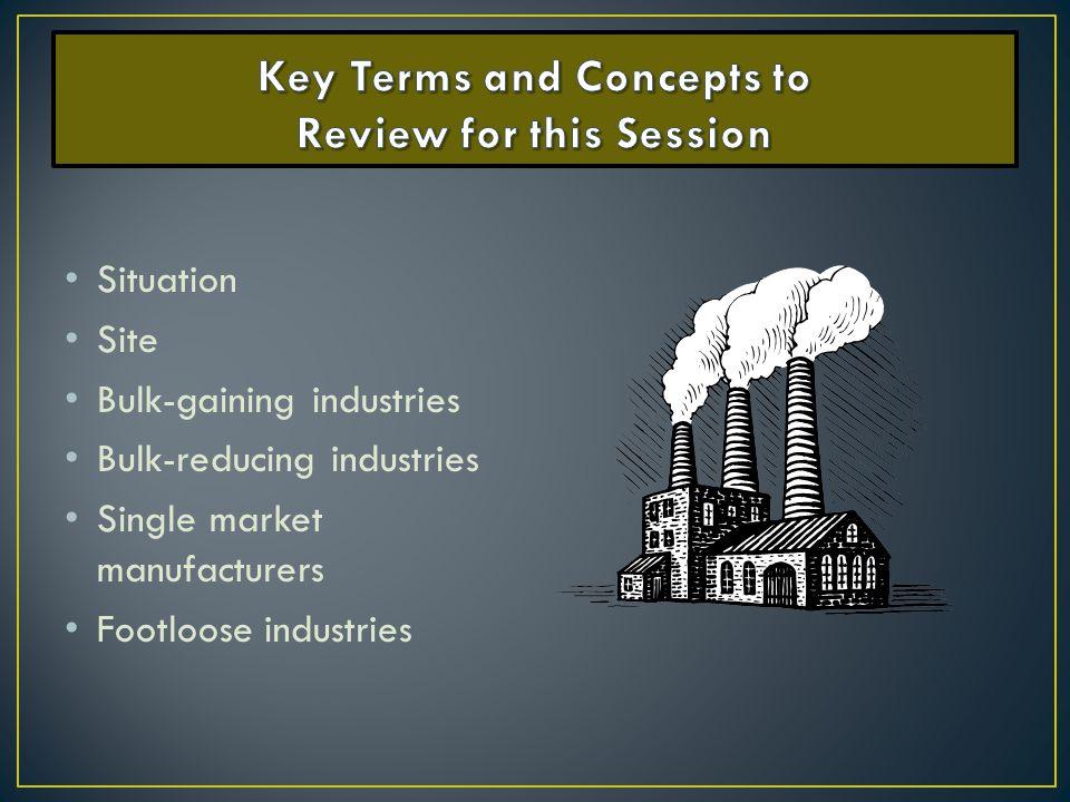Situation Site Bulk-gaining industries Bulk-reducing industries Single market manufacturers Footloose industries