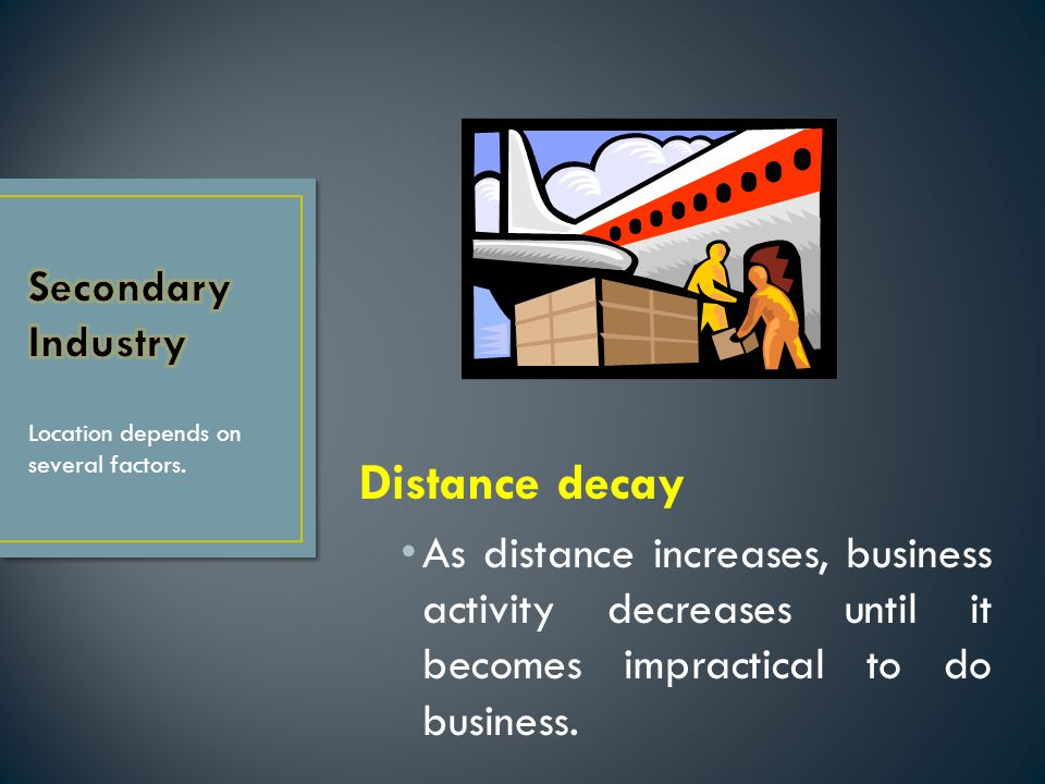 Distance decay As distance increases, business activity decreases until it becomes impractical to do business. Location depends on several factors.