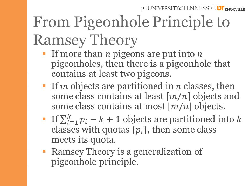 From Pigeonhole Principle to Ramsey Theory