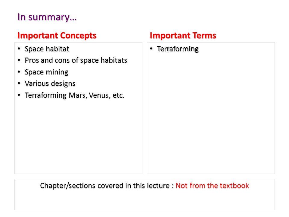 In summary… Important Concepts Space habitat Pros and cons of space habitats Space mining Various designs Terraforming Mars, Venus, etc. Important Ter