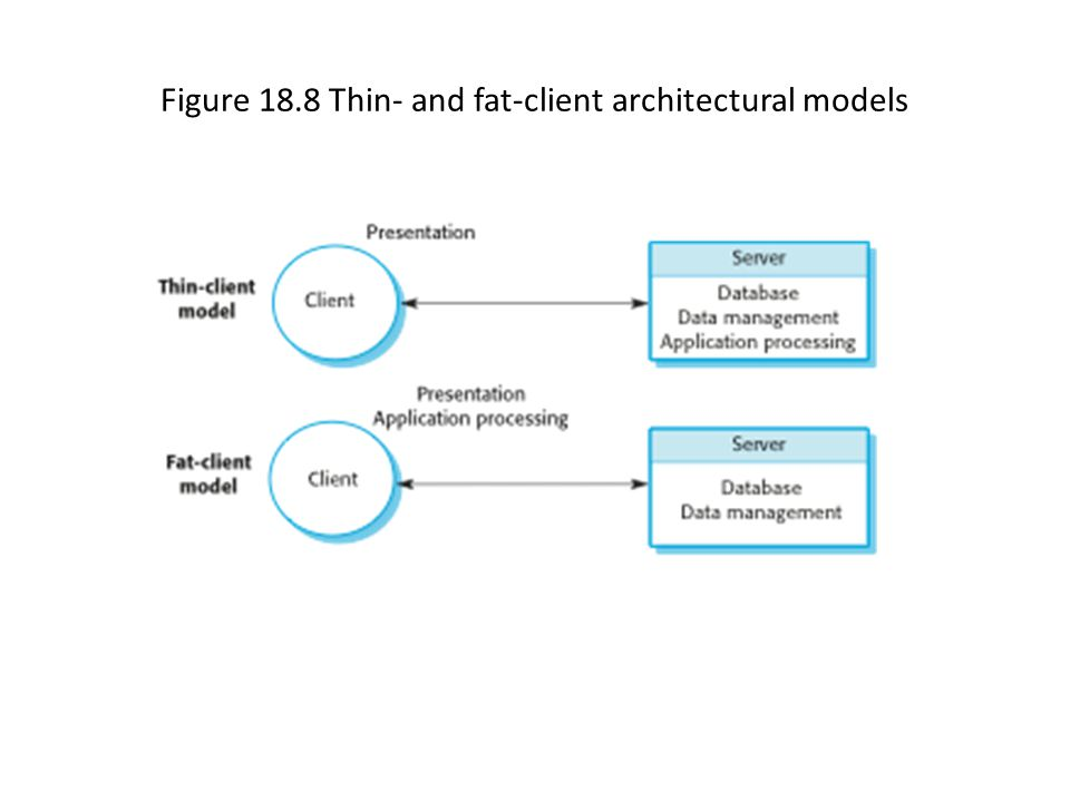 Figure 18.8 Thin- and fat-client architectural models
