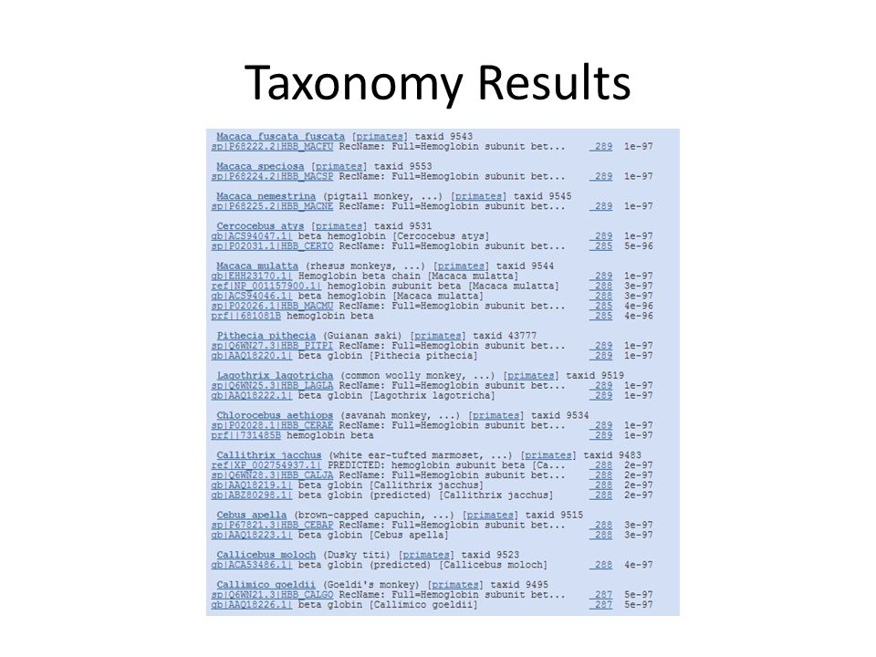 Taxonomy Results