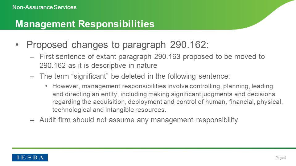 Page 10 Proposed changes to paragraph 290.163 (newly renumbered 290.164): –New examples of management responsibilities added to assist in identifying and clarifying what would constitute a management responsibility –Final sentence of the paragraph note that providing advice or recommendations to management is not considered a management responsibility Management Responsibilities Non-Assurance Services
