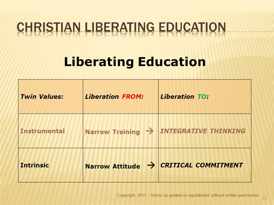 Copyright 2011 – Not to be printed or republished without written permission 21 Liberating Education Twin Values:Liberation FROM:Liberation TO: Instru