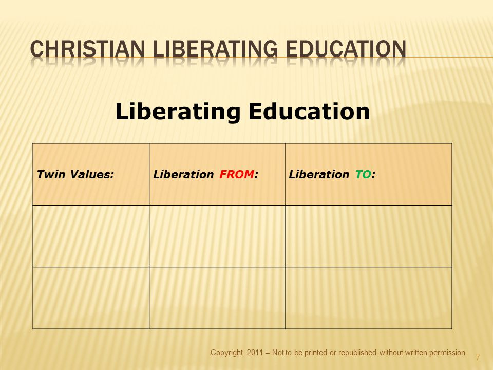 Copyright 2011 – Not to be printed or republished without written permission Liberating Education Twin Values:Liberation FROM:Liberation TO: 7