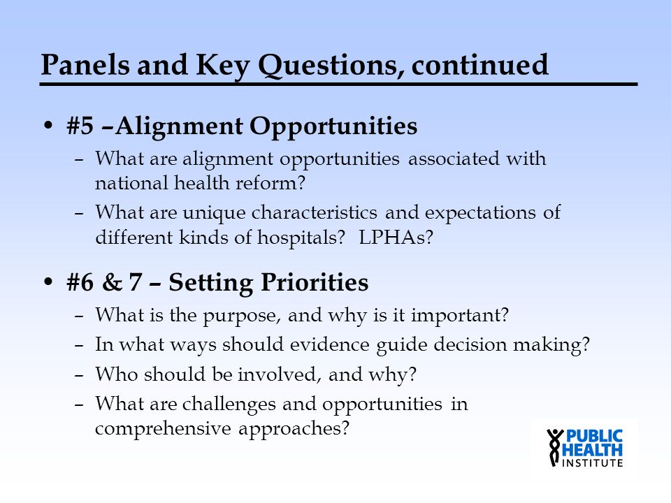 Panels and Key Questions, continued #5 –Alignment Opportunities –What are alignment opportunities associated with national health reform? –What are un
