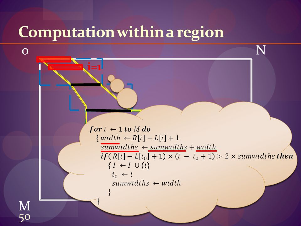 0N M Computation within a region i=1 50