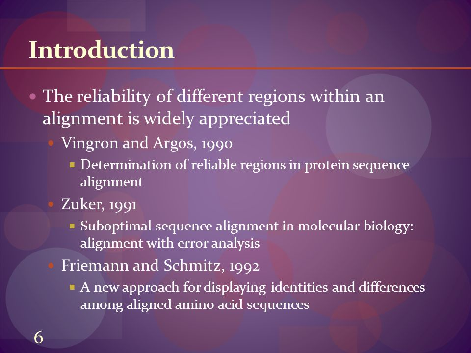 Introduction The reliability of different regions within an alignment is widely appreciated Vingron and Argos, 1990  Determination of reliable regions in protein sequence alignment Zuker, 1991  Suboptimal sequence alignment in molecular biology: alignment with error analysis Friemann and Schmitz, 1992  A new approach for displaying identities and differences among aligned amino acid sequences 6