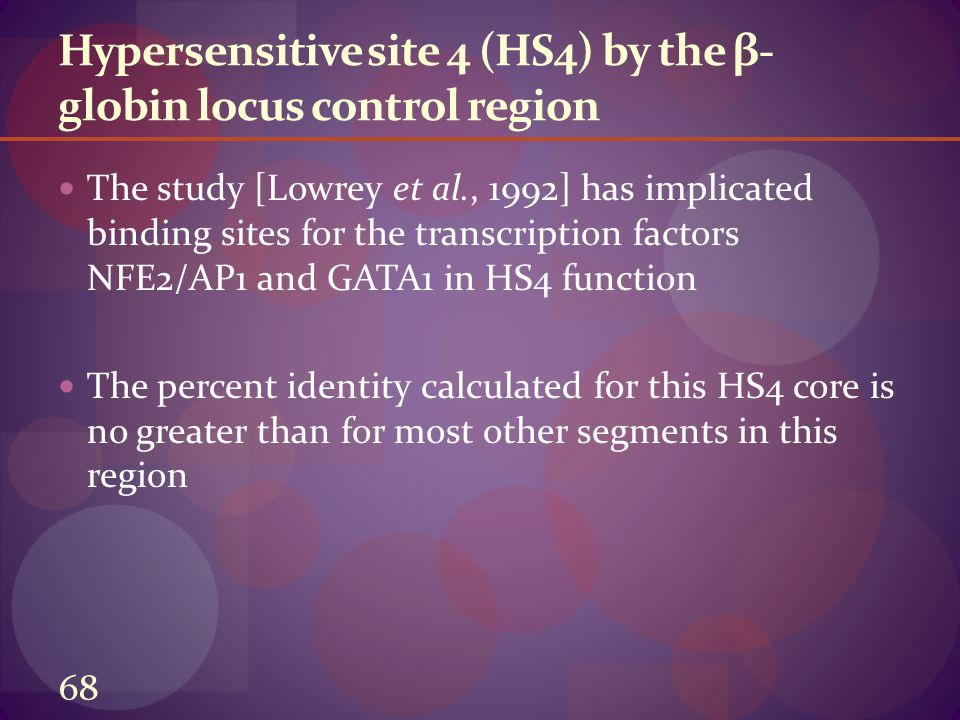 Hypersensitive site 4 (HS4) by the β- globin locus control region The study [Lowrey et al., 1992] has implicated binding sites for the transcription factors NFE2/AP1 and GATA1 in HS4 function The percent identity calculated for this HS4 core is no greater than for most other segments in this region 68