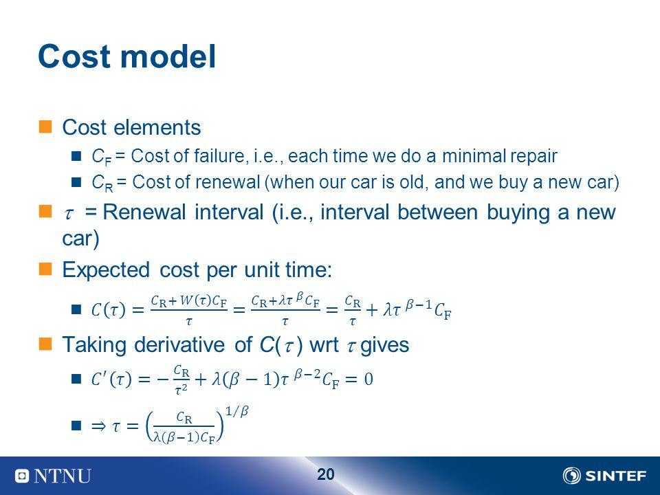 20 Cost model