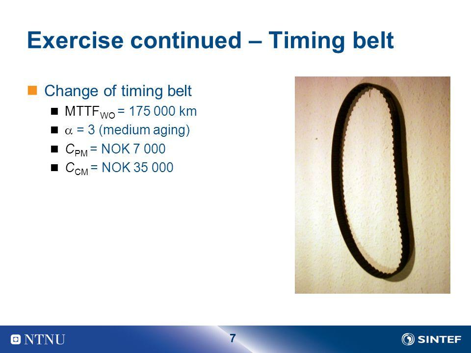 7 Exercise continued – Timing belt Change of timing belt MTTF WO = 175 000 km  = 3 (medium aging) C PM = NOK 7 000 C CM = NOK 35 000