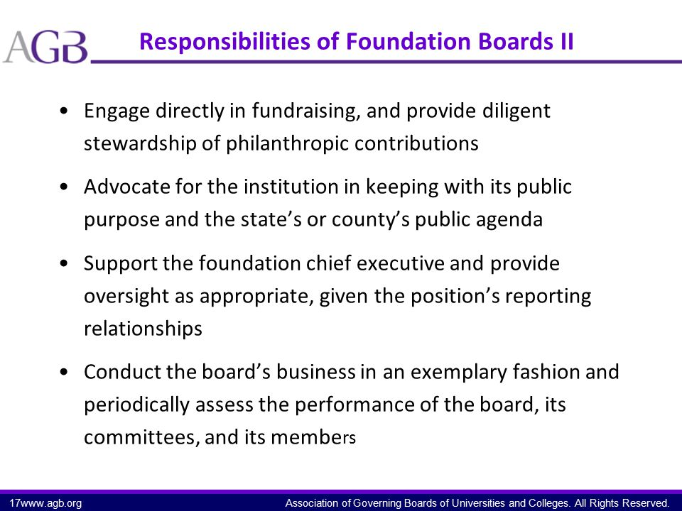 Association of Governing Boards of Universities and Colleges. All Rights Reserved. Responsibilities of Foundation Boards II Engage directly in fundrai