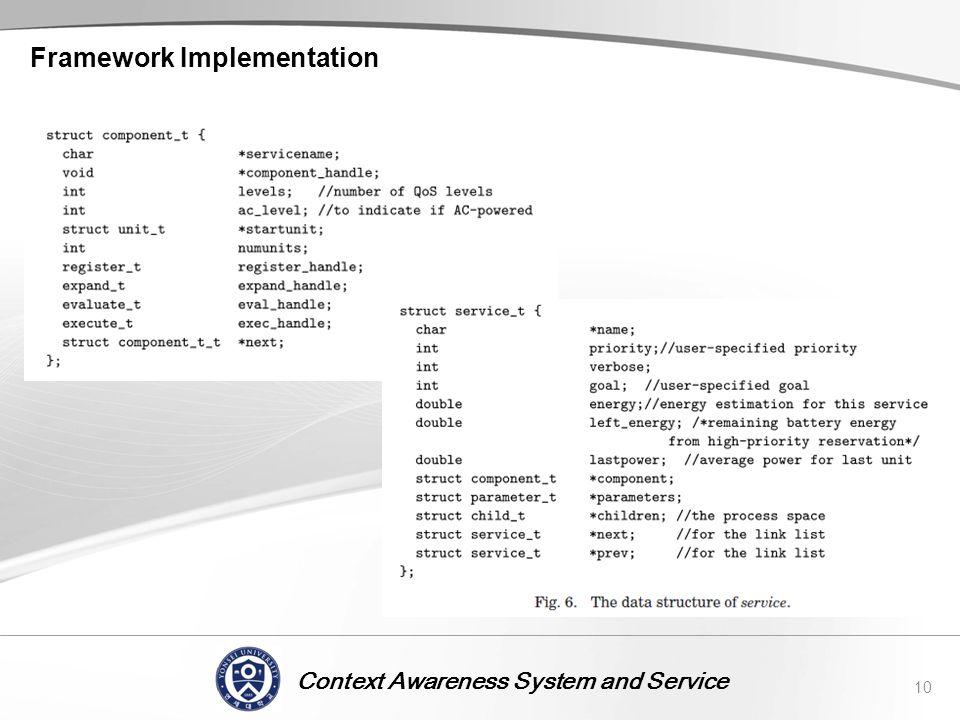 Context Awareness System and Service Framework Implementation 10