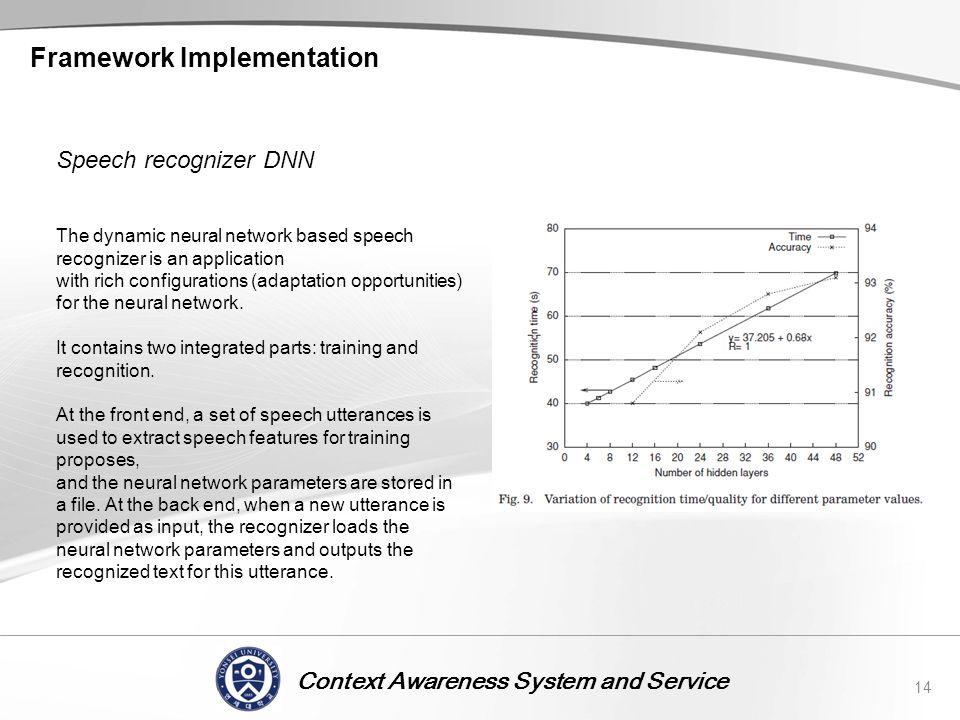 Context Awareness System and Service Framework Implementation 14 Speech recognizer DNN The dynamic neural network based speech recognizer is an applic