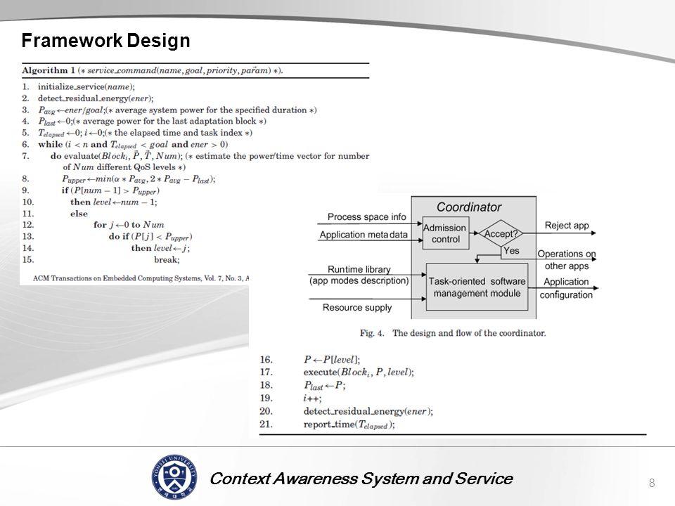 Context Awareness System and Service Framework Design 8