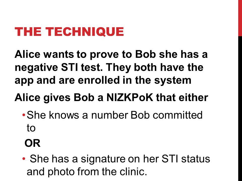 THE TECHNIQUE Alice wants to prove to Bob she has a negative STI test.