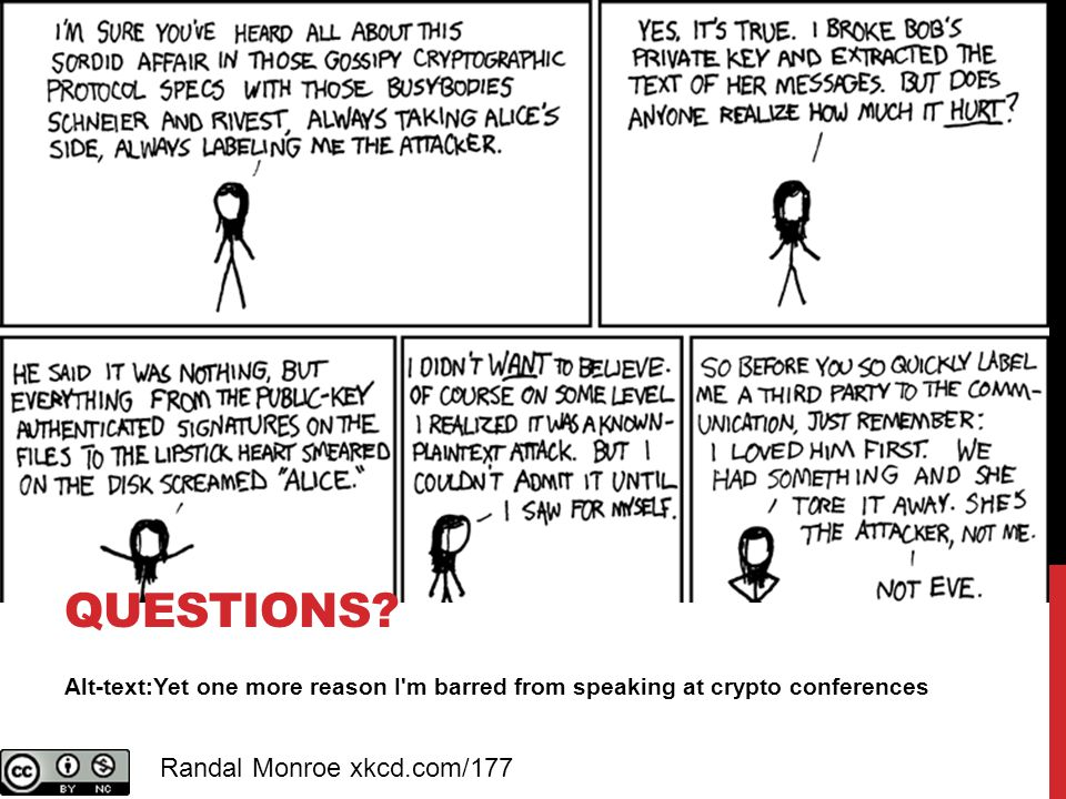Alt-text:Yet one more reason I m barred from speaking at crypto conferences QUESTIONS.