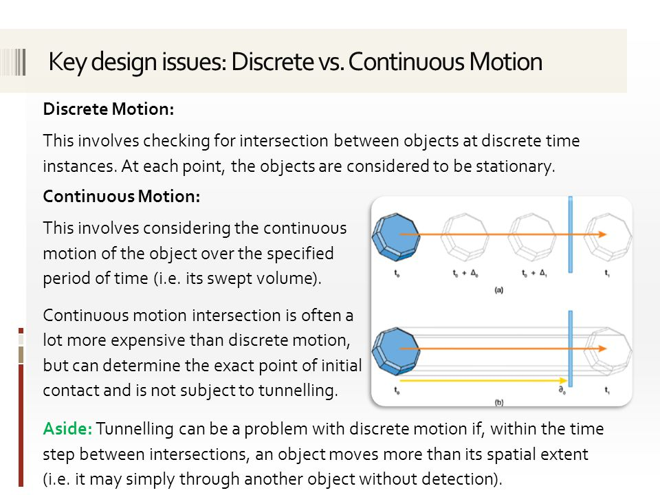 Discrete Motion: This involves checking for intersection between objects at discrete time instances.