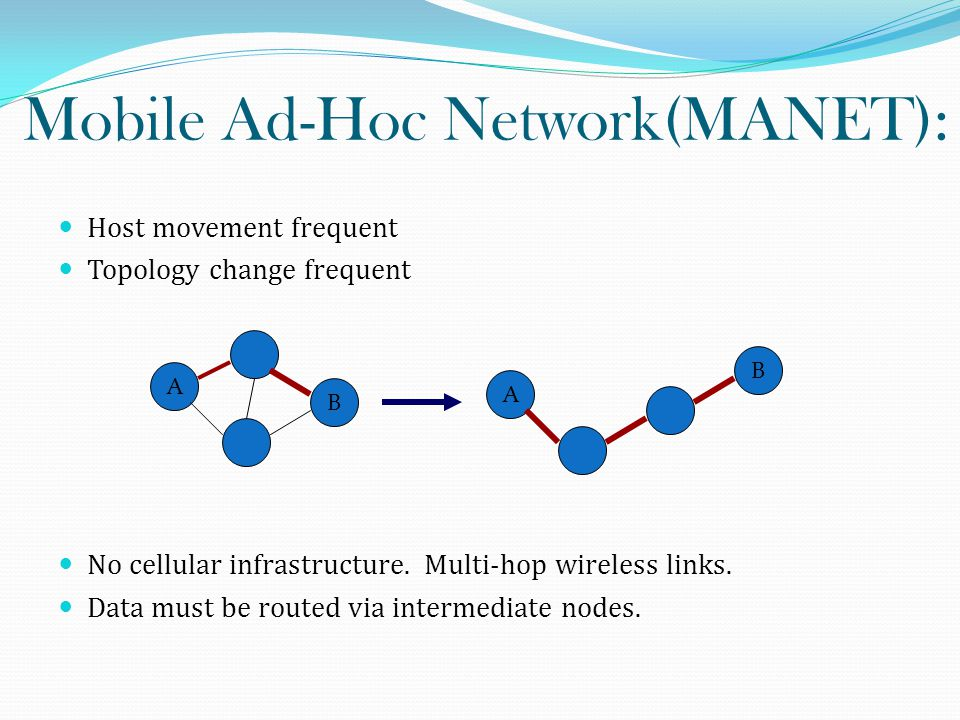 Mobile Ad-Hoc Network(MANET): Host movement frequent Topology change frequent No cellular infrastructure.