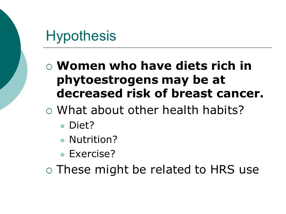 Hypothesis  Women who have diets rich in phytoestrogens may be at decreased risk of breast cancer.